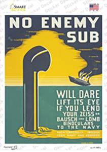 No Enemy Sub Vintage Poster Wholesale Novelty Rectangle Sticker Decal