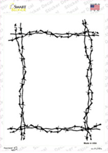 Black Barbed Wire Border Wholesale Novelty Rectangle Sticker Decal