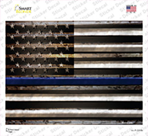 American Flag Thin Blue Line Wholesale Novelty Rectangle Sticker Decal
