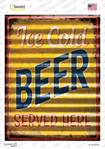 Ice Cold Beer Corrugated Effect Wholesale Novelty Rectangle Sticker Decal