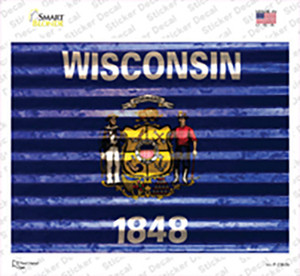 Wisconsin Flag Wholesale Novelty Rectangle Sticker Decal