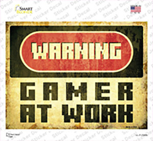 Warning Gamer at Work Wholesale Novelty Rectangle Sticker Decal