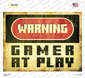 Warning Gamer at Play Wholesale Novelty Rectangle Sticker Decal