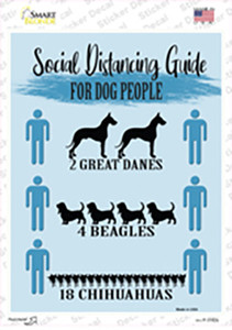 Social Distancing For Dog People Wholesale Novelty Rectangle Sticker Decal