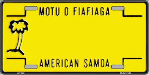 American Samoa Novelty Background Wholesale Metal License Plate LP-1503