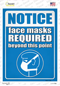 Notice Masks Required Wholesale Novelty Rectangle Sticker Decal
