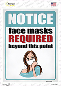 Face Masks Required Girl Wholesale Novelty Rectangle Sticker Decal