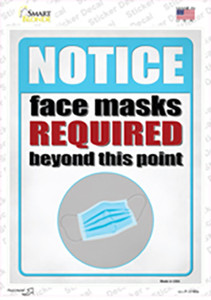 Face Masks Required Wholesale Novelty Rectangle Sticker Decal