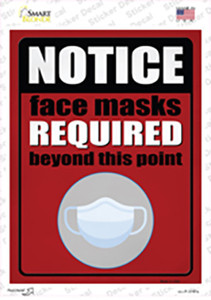 Face Masks Required Red Wholesale Novelty Rectangle Sticker Decal