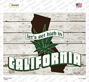 Get High In California Wholesale Novelty Rectangle Sticker Decal