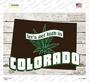 Get High In Colorado Wholesale Novelty Rectangle Sticker Decal