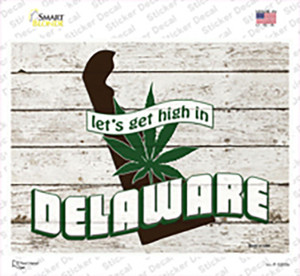 Get High In Delaware Wholesale Novelty Rectangle Sticker Decal