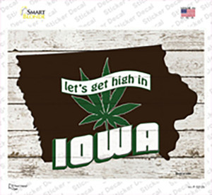 Get High In Iowa Wholesale Novelty Rectangle Sticker Decal