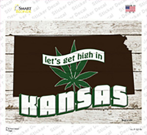 Get High In Kansas Wholesale Novelty Rectangle Sticker Decal
