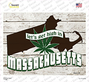 Get High In Massachusetts Wholesale Novelty Rectangle Sticker Decal