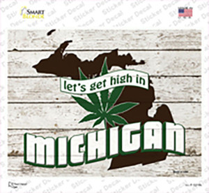 Get High In Michigan Wholesale Novelty Rectangle Sticker Decal