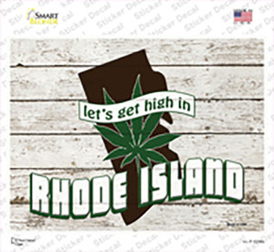 Get High In Rhode Island Wholesale Novelty Rectangle Sticker Decal