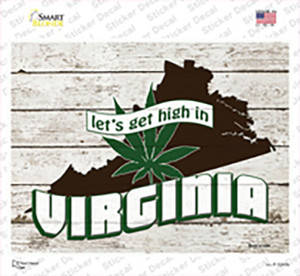 Get High In Virginia Wholesale Novelty Rectangle Sticker Decal