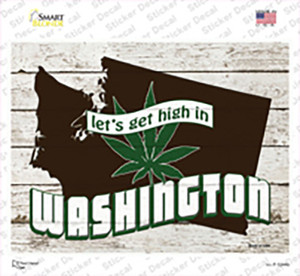 Get High In Washington Wholesale Novelty Rectangle Sticker Decal