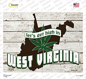 Get High In West Virginia Wholesale Novelty Rectangle Sticker Decal