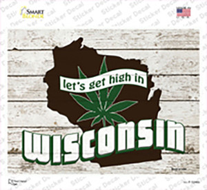 Get High In Wisconsin Wholesale Novelty Rectangle Sticker Decal