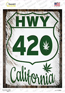 HWY 420 California Wholesale Novelty Rectangle Sticker Decal