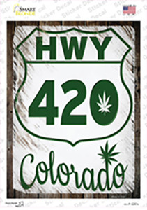 HWY 420 Colorado Wholesale Novelty Rectangle Sticker Decal