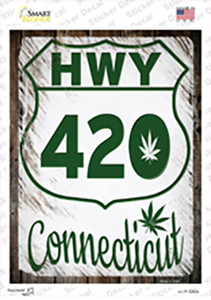 HWY 420 Connecticut Wholesale Novelty Rectangle Sticker Decal