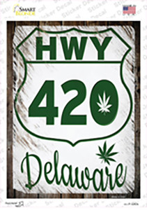 HWY 420 Delaware Wholesale Novelty Rectangle Sticker Decal