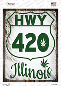 HWY 420 Illinois Wholesale Novelty Rectangle Sticker Decal