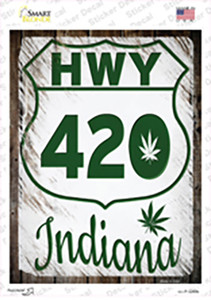 HWY 420 Indiana Wholesale Novelty Rectangle Sticker Decal