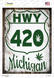 HWY 420 Michigan Wholesale Novelty Rectangle Sticker Decal
