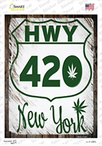 HWY 420 New York Wholesale Novelty Rectangle Sticker Decal