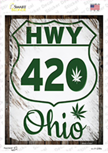 HWY 420 Ohio Wholesale Novelty Rectangle Sticker Decal