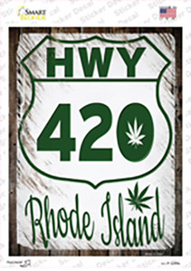 HWY 420 Rhode Island Wholesale Novelty Rectangle Sticker Decal