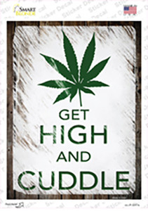 Get High And Cuddle Wholesale Novelty Rectangle Sticker Decal