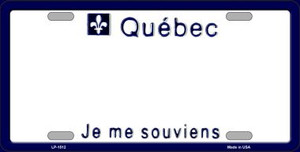 Quebec Novelty Background Wholesale Metal License Plate