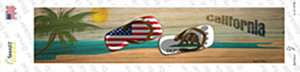 California and US Flag Wholesale Novelty Narrow Sticker Decal