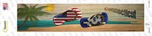 Connecticut and US Flag Wholesale Novelty Narrow Sticker Decal