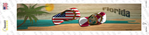 Florida and US Flag Wholesale Novelty Narrow Sticker Decal