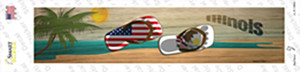 Illinois and US Flag Wholesale Novelty Narrow Sticker Decal