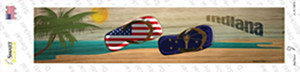 Indiana and US Flag Wholesale Novelty Narrow Sticker Decal