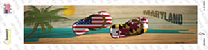 Maryland and US Flag Wholesale Novelty Narrow Sticker Decal