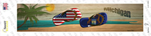 Michigan and US Flag Wholesale Novelty Narrow Sticker Decal