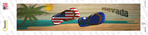 Nevada and US Flag Wholesale Novelty Narrow Sticker Decal
