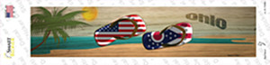 Ohio and US Flag Wholesale Novelty Narrow Sticker Decal