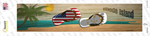Rhode Island and US Flag Wholesale Novelty Narrow Sticker Decal