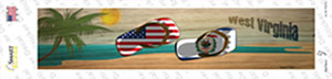West Virginia and US Flag Wholesale Novelty Narrow Sticker Decal