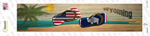 Wyoming and US Flag Wholesale Novelty Narrow Sticker Decal
