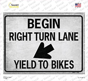 Begin Right Turn Lane Yield To Bikes Wholesale Novelty Rectangle Sticker Decal